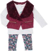 Little Lass Wine Faux Fur Vest Set - Infant, Toddler & Girls