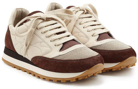 Brunello Cucinelli Suede and Fabric Sneakers