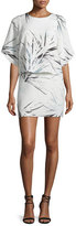 Halston Half-Sleeve Printed Popover Mini Dress, Chalk/Graphic Blue