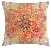 """Red Mandala Indoor / Outdoor Ikat 26"""" Throw Pillow Cover East Urban Home"""