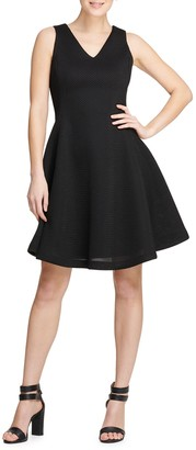 Donna Karan Textured Fit-&-Flare Dress