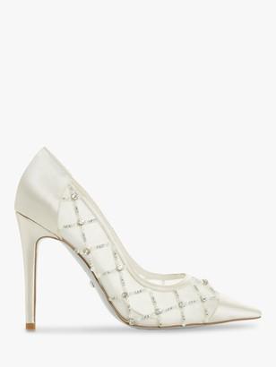 Dune Ballgown Satin Heel Court Shoes, Ivory