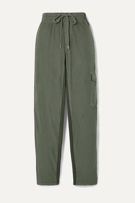 James Perse Cropped Crinkled Cotton-blend Poplin Track Pants - Army green