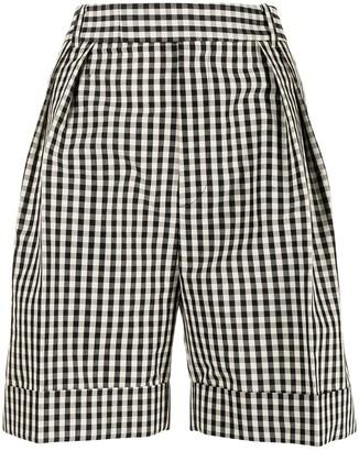 KHAITE Magdeline gingham wide-leg shorts