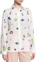 Rosie Assoulin Salad Bar Embroidered Blouse, White
