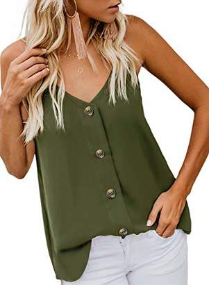 Actloe Women V Neck Button Down Spaghetti Strap Tank Top Summer Casual Sleeveless Shirts Blouses
