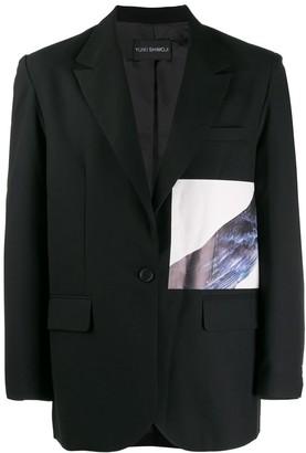 Yuiki Shimoji Crow printed patch blazer