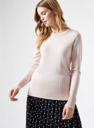 Dorothy Perkins Womens Blush Pearl Cuff Crew Neck Jumper