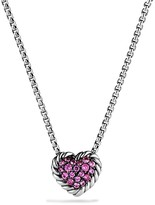 David Yurman Ch'telaine Heart Pendant Necklace with Pink Sapphire