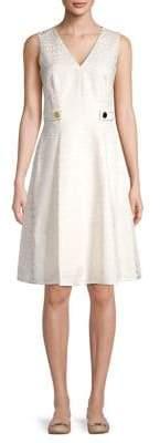 Anne Klein Jacquard V-Neck A-Line Dress