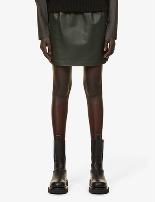 Bottega Veneta Elasticated high-waist leather mini skirt