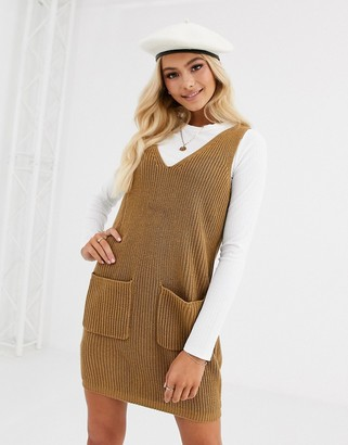 Pieces knitted pinafore mini dress in camel-Beige