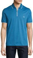 Salvatore Ferragamo Tape-Tipped Short-Sleeve Zip Polo Shirt, Bright Cobalt