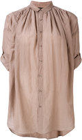 Pas De Calais gathered oversized shirt - women - Cotton/Silk - 38