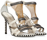 Sergio Rossi Cream/Black Leather Sandals with Metal Mesh Detail