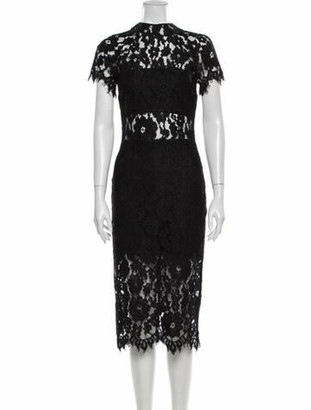 Alexis Lace Pattern Midi Length Dress Black
