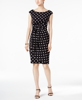 Connected Petite Polka Dot Sarong Sheath Dress