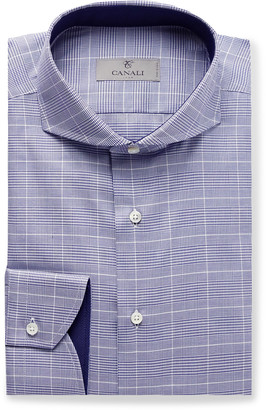 Canali Navy Cutaway-Collar Prince Of Wales Checked Cotton-Poplin Shirt