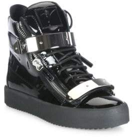 Giuseppe Zanotti Double-Zip Patent Leather High-Top Sneakers