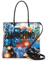 Moschino Spae Transformers Printed Leather Tote