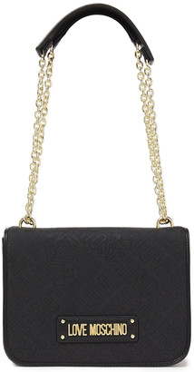 Love Moschino Faux Leather-trimmed Logo-jacquard Shoulder Bag