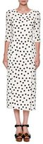 Dolce & Gabbana Polka-Dot 3/4-Sleeve Midi Dress, White/Black