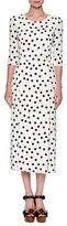 Dolce & Gabbana Polka-Dot 3/4-Sleeve Midi Dress, White/Black