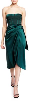 Jonathan Simkhai Crepe Satin Combo Bustier Cocktail Dress