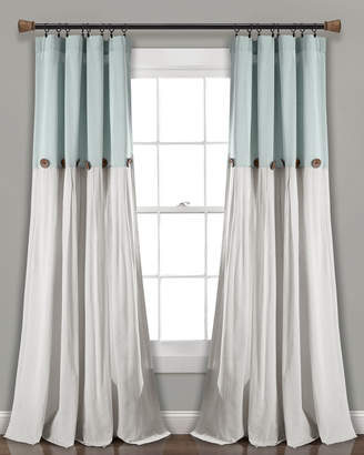 Triangle Home Fashion Linen Button Window Curtain Panels