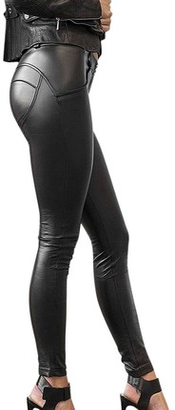 Petalum Warm Stretch-fit Faux Leather Shaper Leggings Stretch Push Up High Waisted Pants Black