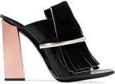 Proenza Schouler Metal-trimmed fringed suede and leather mules