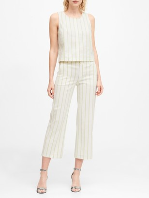 Banana Republic Slim Wide-Leg Stripe Cropped Pant