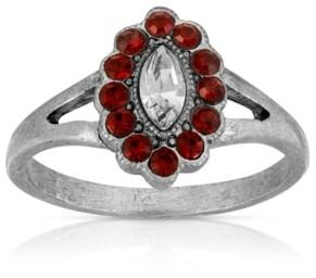 Pewter Diamond Shaped Crystal Ring