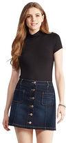 Aeropostale Womens Prince & Fox Button Front Dark Wash Denim Skirt Blue