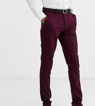 ASOS DESIGN Tall skinny smart pants in dark burgundy