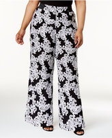 INC International Concepts Plus Size Floral-Print Wide-Leg Pants, Only at Macy's