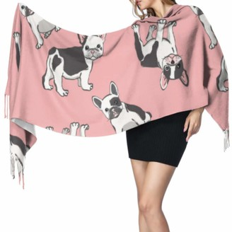 Yushg Funny Smart Cute Animal Pet Bulldog Scarf Wrap For Women Winter Cashmere Scarf Girls Wrap Shawl 77x27inch/196x68cm Large Soft Pashmina Extra Warm