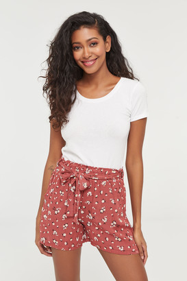 Ardene High Waist Paper Bag Floral Shorts