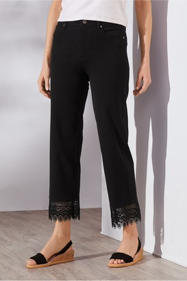 Comfort Stretch Lace Hem Crop Pants