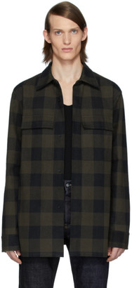 Bottega Veneta Khaki and Black Check Overshirt
