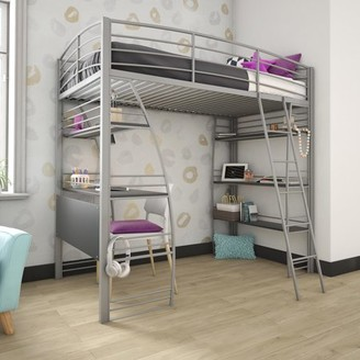 DHP Studio Twin Loft Bed with Integrated Desk and Shelves, Silver