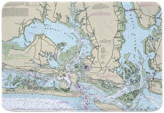 Island Girl Home, Inc. NC: Morehead City, Beaufort, NC Nautical Chart Memory Foam Bath Mat