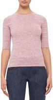 Akris Punto Half-Sleeve Knit Wool Sweater, Pink