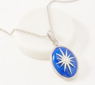 Judith Ripka Sterling Silver Enamel Locket Necklace