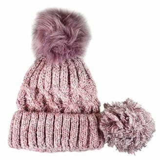Something Special Vintage Cable Knit Detachable Pom Pom Hat Pink