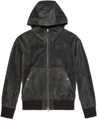 Tom Ford Perforated Suede Hooded Bomber Jacket - Green