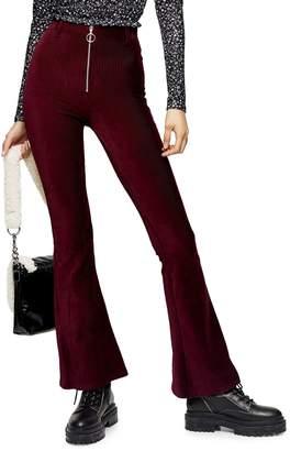 Topshop Zip-Front Corduroy Flare Pants