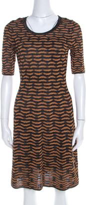 M Missoni Black and Gold Textured Lurex Knit A Line Dress S