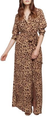 L'Agence Cameron Leopard-Print Silk Shirtdress