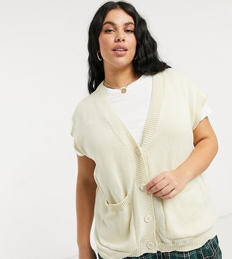 Loose Threads Plus oversized lounge sweater vest cardigan in cable knit